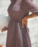 Finlandia Striped Pocketed Midi Dress