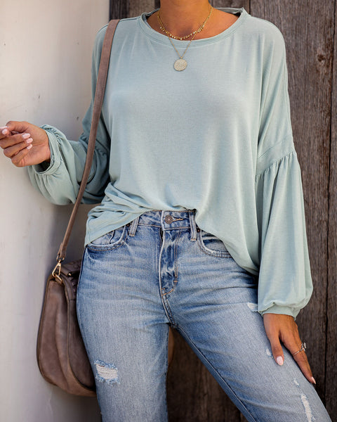 Hot Air Balloon Cotton Long Sleeve Tee - Sage