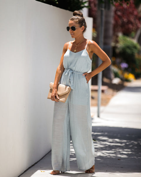 Cambridge Pocketed Tie Jumpsuit - Waterlily - FINAL SALE