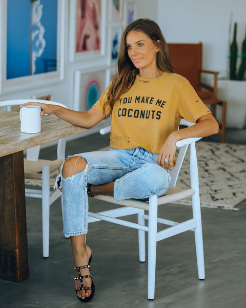 You Make Me Coconuts Distressed Cotton Tee