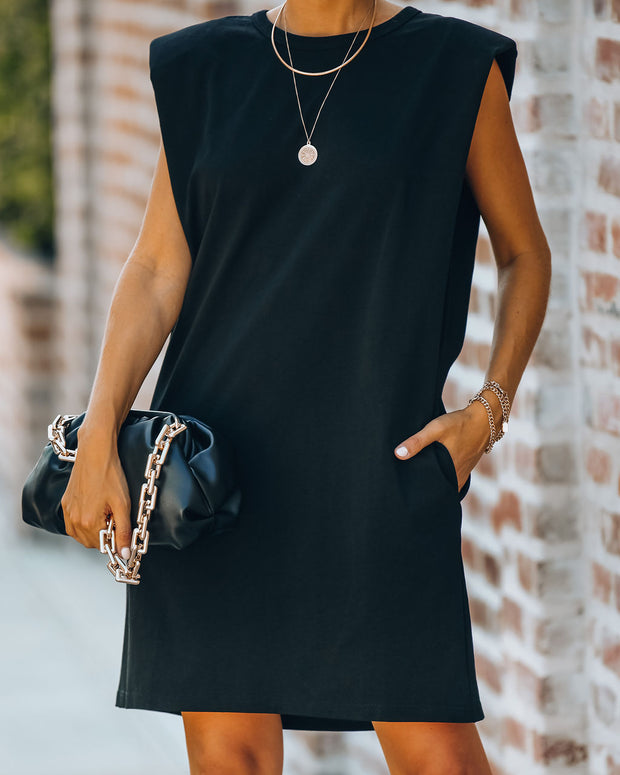 Strong Suit Cotton Pocketed Dress - Black