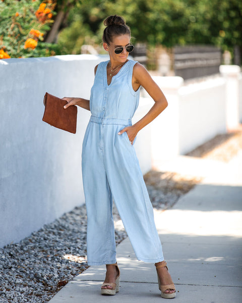 Hopscotch Pocketed Button Down Tencel Jumpsuit