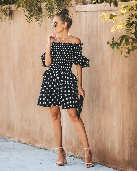 It's My Party Polka Dot Off The Shoulder Dress