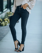 Plural High Rise Button Front Skinny