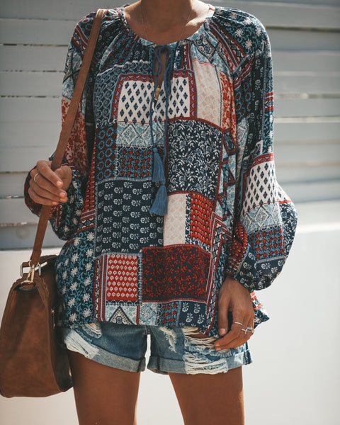 Good Natured Patchwork Blouse - FINAL SALE