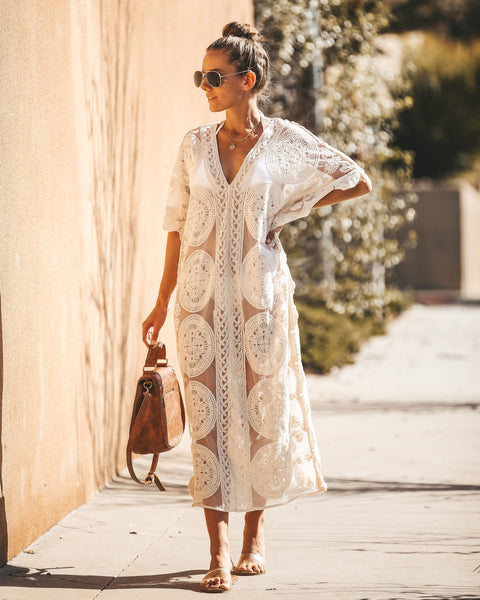 Wanderlust Cotton Lace Kimono Dress