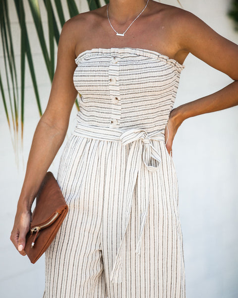 Phoenix Cotton Smocked Strapless Pocketed Jumpsuit