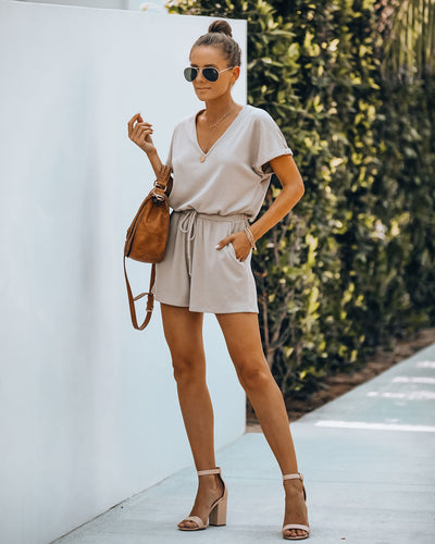 Summer's End Pocketed Knit Romper - Beige