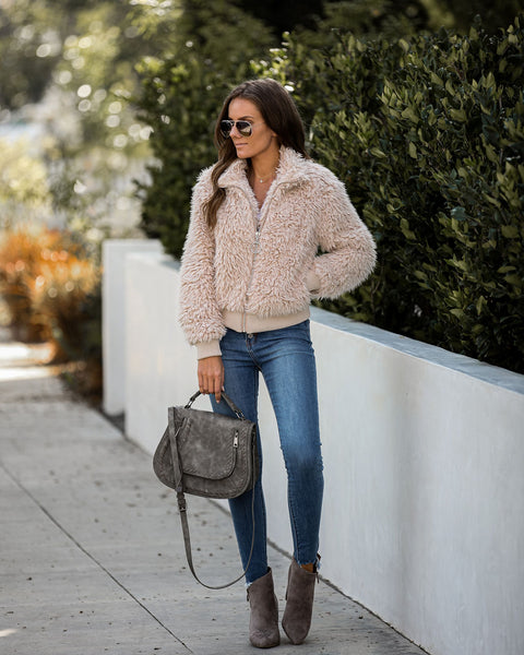 Igloo Pocketed Faux Fur Jacket - Taupe - FINAL SALE