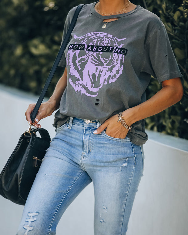 How About No Distressed Cotton Tiger Tee