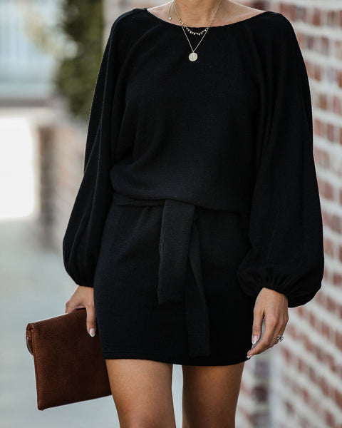 Through The Orchard Ribbed Sweater Dress - Black