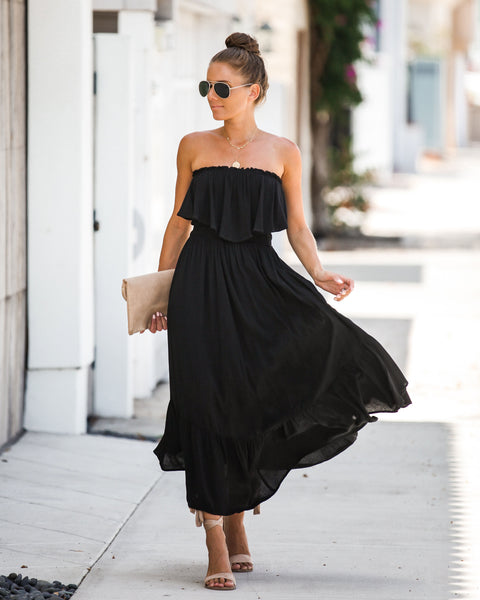 Billboard Charts Strapless Ruffle Dress