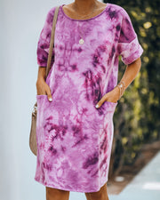 Smiley Pocketed Tie Dye T-Shirt Dress - Plum - FINAL SALE view 5