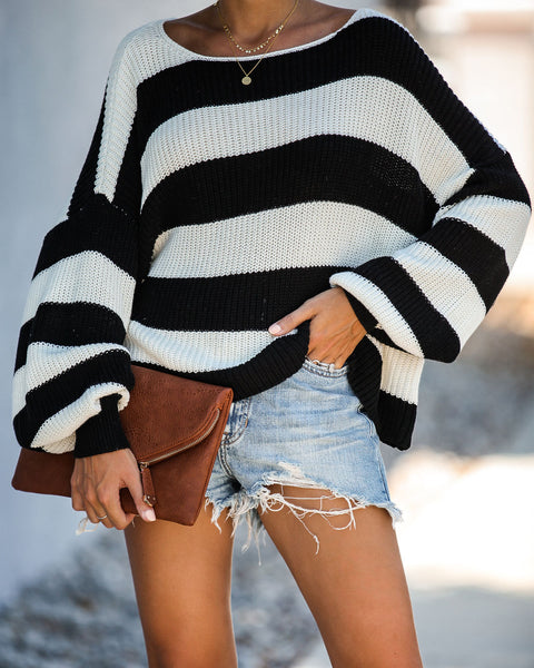 Oreo Striped Cotton Knit Sweater