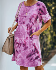 Smiley Pocketed Tie Dye T-Shirt Dress - Plum - FINAL SALE view 1