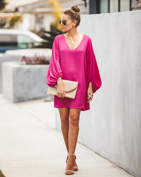 Stand By Your Side Balloon Sleeve Shift Dress - Fuchsia - FINAL SALE
