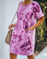Smiley Pocketed Tie Dye T-Shirt Dress - Plum - FINAL SALE view 6