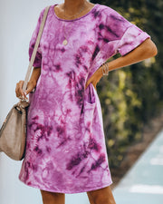 Smiley Pocketed Tie Dye T-Shirt Dress - Plum - FINAL SALE view 7