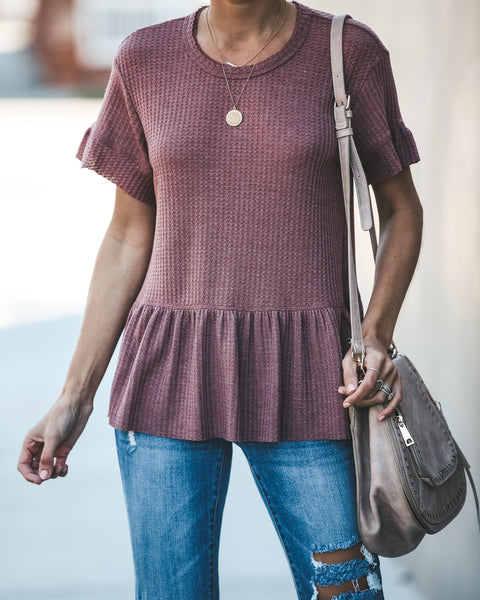 Cozy Cutie Thermal Peplum Top - Sweet Bean - FINAL SALE