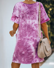 Smiley Pocketed Tie Dye T-Shirt Dress - Plum - FINAL SALE view 3