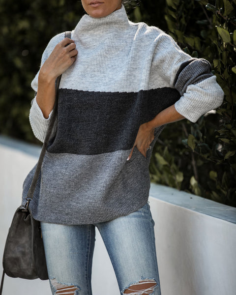 Cyclone Colorblock Mock Neck Sweater
