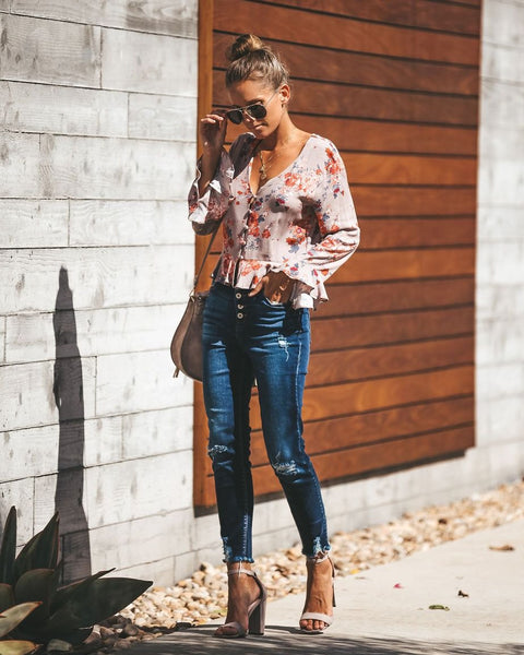 Genovese Floral Button Down Top