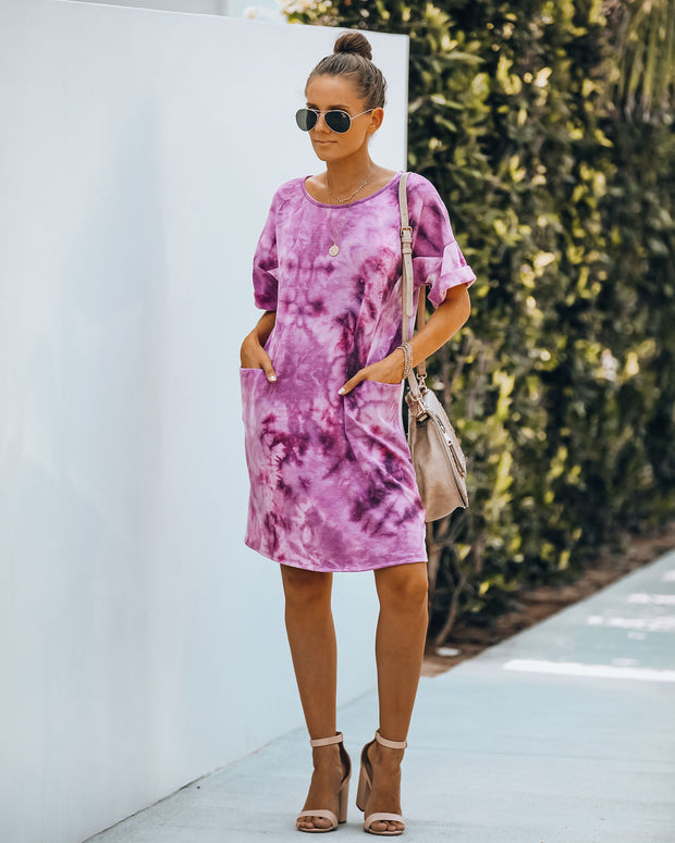 Smiley Pocketed Tie Dye T-Shirt Dress - Plum - FINAL SALE view 2
