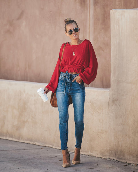 Born With It Knit Kimono Top - Red