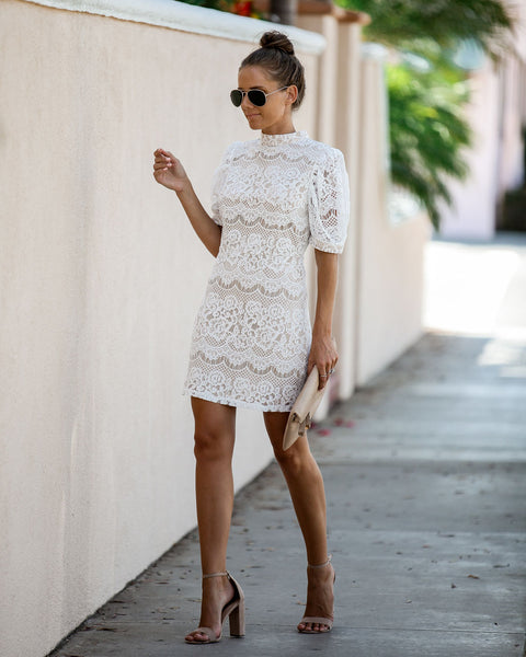 Transform Lace Statement Dress - White
