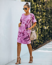 Smiley Pocketed Tie Dye T-Shirt Dress - Plum - FINAL SALE view 8
