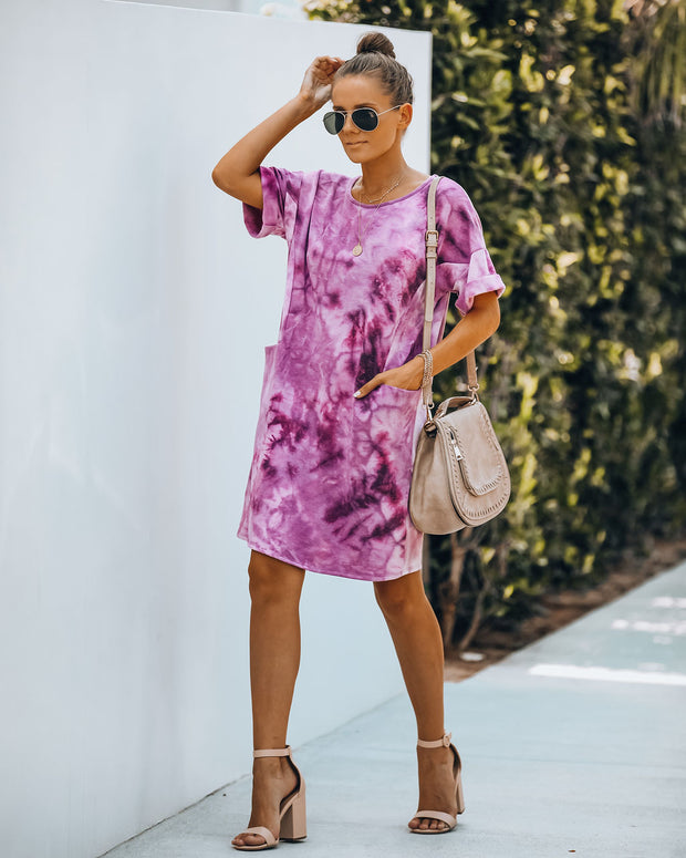 Smiley Pocketed Tie Dye T-Shirt Dress - Plum - FINAL SALE view 9