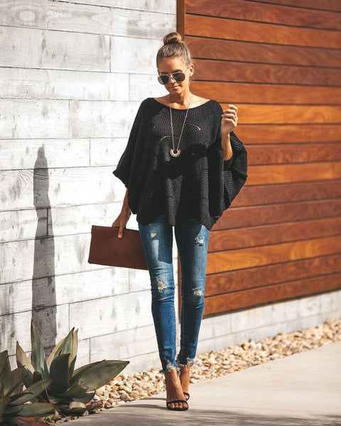 PREORDER - Noemi Dolman Knit Sweater - Black