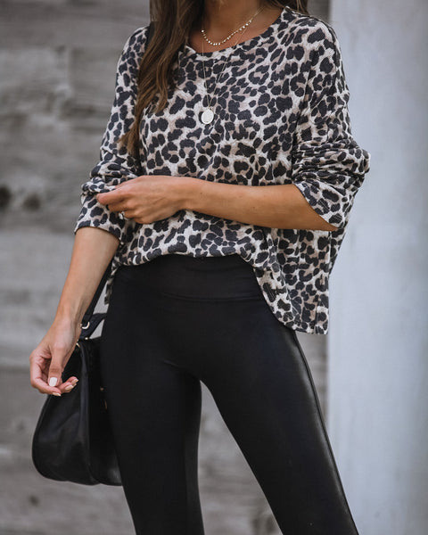 Full Moon Leopard Thermal Knit Top