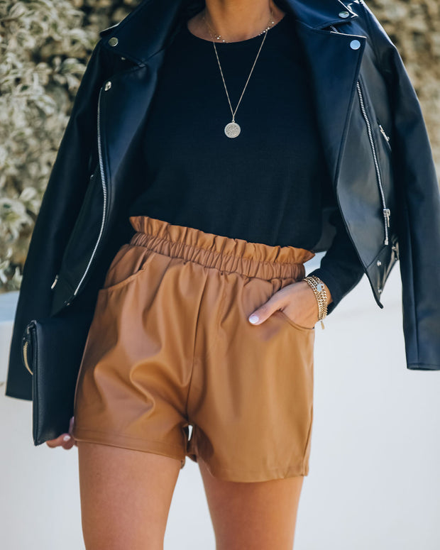 Issa Pocketed Faux Leather Shorts - Dark Camel
