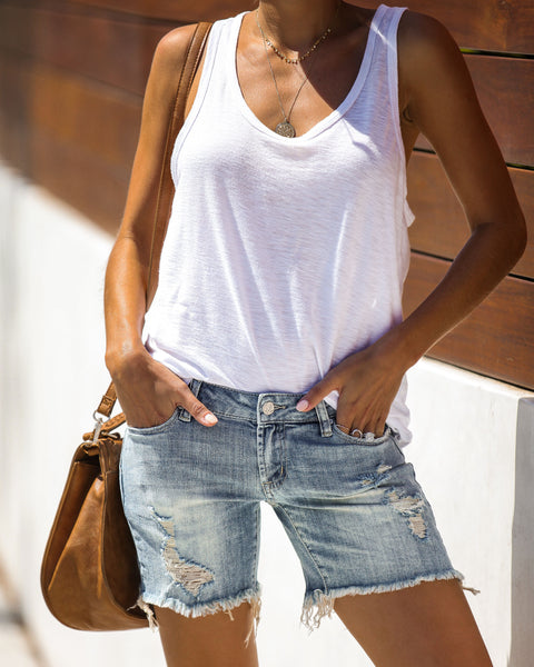 Day In Age Distressed Denim Shorts