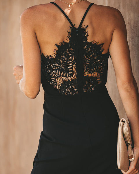 Opposites Attract Lace Bodycon Dress - Black