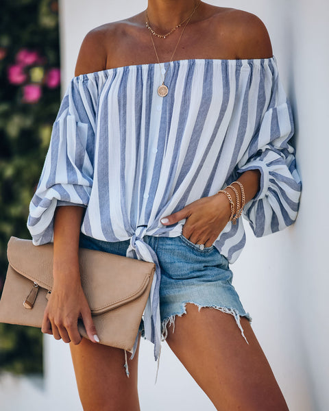 Kickstart Striped Off The Shoulder Tie Top