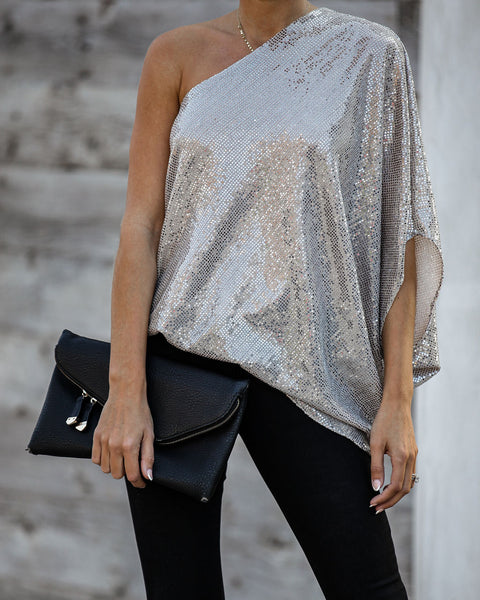Love Thang Sequin One Shoulder Drape Top
