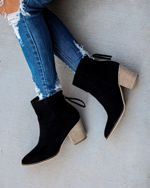 Curb Appeal Faux Suede Heeled Bootie - Black
