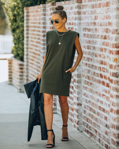 Strong Suit Cotton Pocketed Dress - Olive