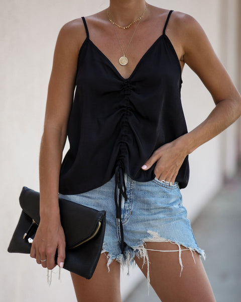 Leandra Cinched Cami Tank - Black