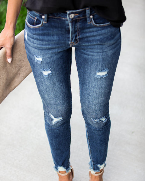 Inspire Mid Rise Frayed Ankle Skinny