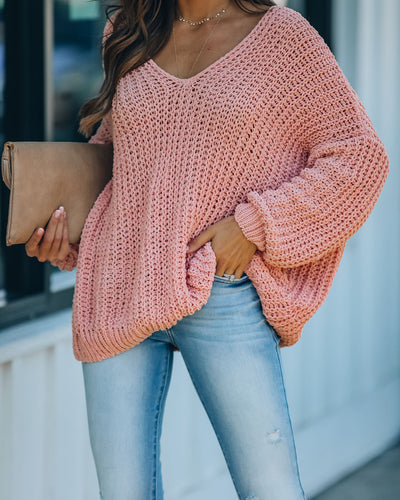 Pinky Promise Cotton Blend Knit Sweater - Blush