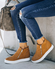Preoccupied Faux Suede Wedge Sneaker - Tan
