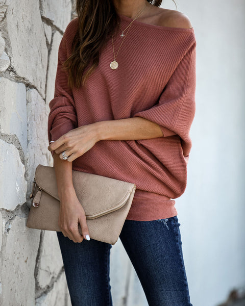 PREORDER - Surrounded With Love Ribbed Knit Sweater - Mauve