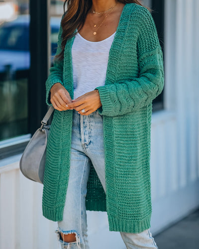 Asher Cotton Blend Knit Cardigan - Moss