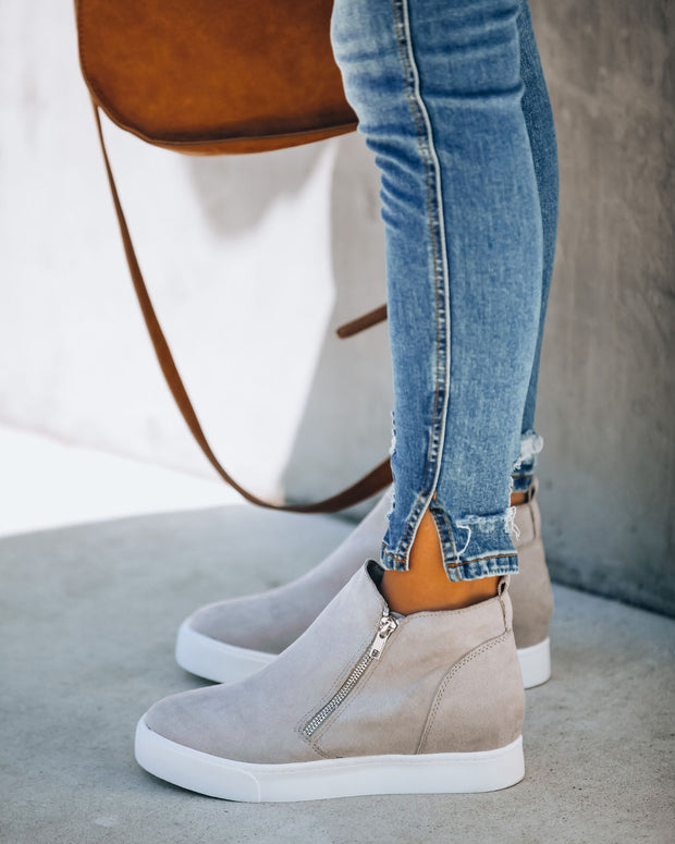 Preoccupied Faux Suede Wedge Sneaker - Grey