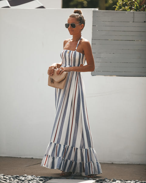 Nadia Striped Smocked Maxi Dress