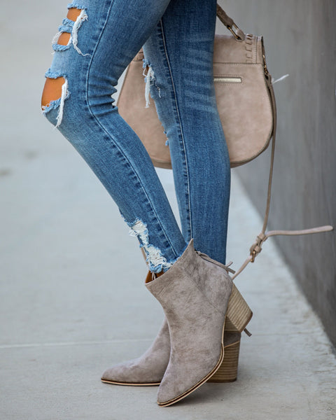Curb Appeal Faux Suede Heeled Bootie - Grey