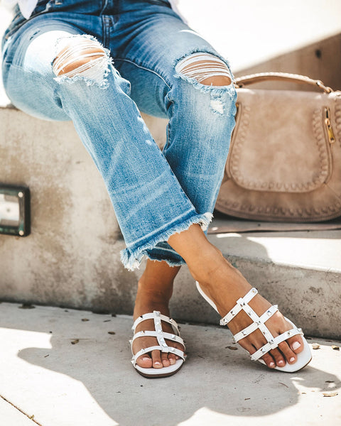 Marcy Studded Sandal - White - FINAL SALE